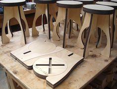 taburete de corte láser madera contrachapada                              …