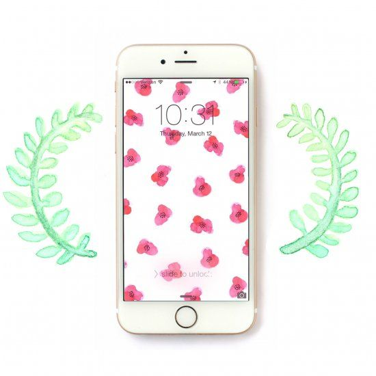 This hand painted floral wallpaper for your phone is perfect for spring.