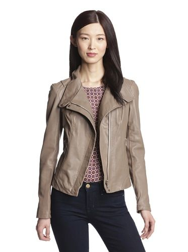 Taupe Leather Jacket Womens - Pl Jackets