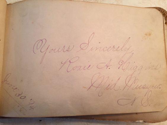Roxie A. Higgins - June 30 1894 Middle Musquodoboit