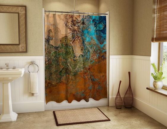 Abstract Art Shower Curtain Contemporary Bathroom Decor Southwest