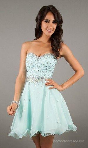 Short Strapless Blue / Aqua Homecoming Dress size 6 - Mint ...