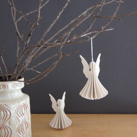 Christmas Tree Angel Decorations: Angel, White, Cute, Wonderful, Paper, Decoration, Room
