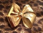 Christian Dior Gold Brooch Pin VINTAGE Bow Ribbon Designer Jewellery Large - Designer Jewelry Galleria