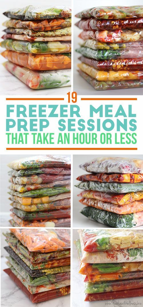 Kelly from New Leaf Wellness put together a list of 19 freezer meal prep sessions that take an hour or less! Every freezer prep session includes the free printable recipes and grocery list.