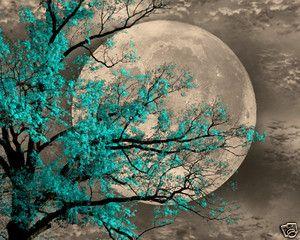 Blue Wall Art Brown Aqua Tree Moon Home Decor Picture Ebay