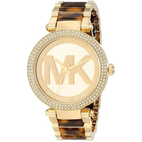 Michael Kors MK6109 - Parker Watches, Gold (€180) ❤ liked on Polyvore featuring jewelry, watches, accessories, bracelets, gold, gold tone watches, michael kors, gold tone jewelry, military wrist watch and gold jewelry