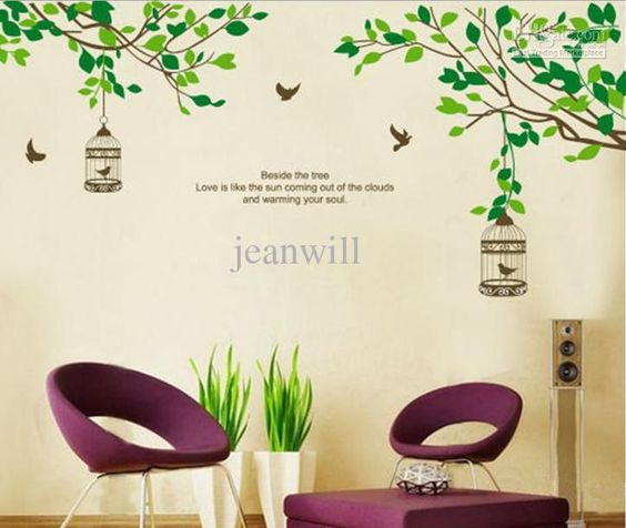 Removable Wall Sticker Decal Tree Branch Birds Cage Mural Art Modern Wall Decor Jm7128 Jm 60x90cm From Jeanwill, $4.74 | Dhgate.Com