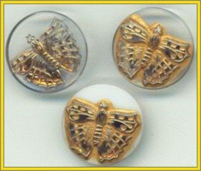 CZECH GLASS BUTTONS - Butterfly Lacy Gold 3 Set - 7/8+