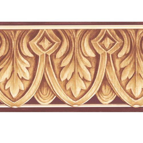 Architectural Carved Leaf Molding Red And Beige Wallpaper Border Brewsterhomefashions Beige Wallpaper Wallpaper Border Wallpaper