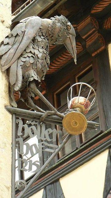 Höllenhof, Quedlinburg (UNESCO WHS)  Sign of Höllenhof (Hell's Courtyard), a building from 1215 in the narrow lane Hölle (Hell) in Quedlinburg in the Harz mountains, Sachsen-Anhalt (Saxony-Anhalt), Germany.