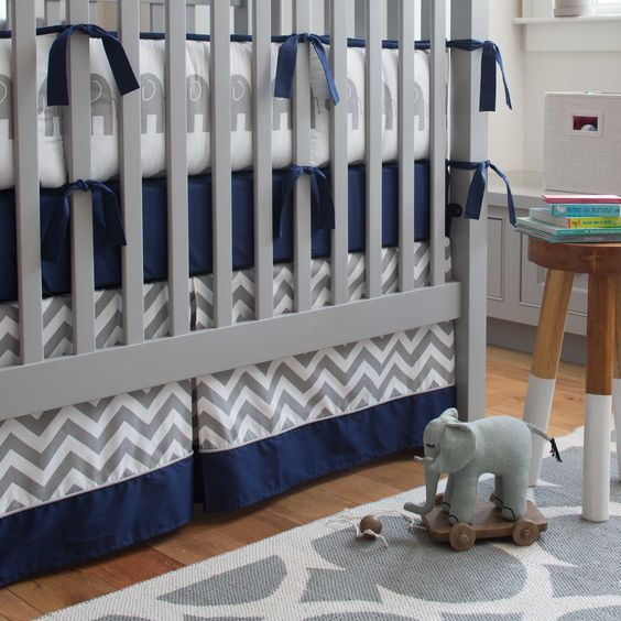 This is the bedding I want for a baby boy!!!!  Navy and Gray Elephants Crib Bedding | Carousel Designs