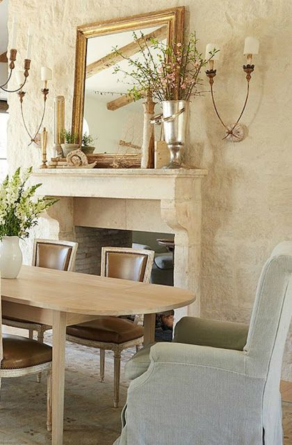 Modern farmhouse dining room with French limestone fireplace #modernfarmhouse #diningroom