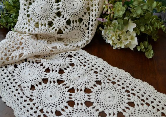 Vintage Light Ecru Crochet Lace Table Runner by LaBellaVintage