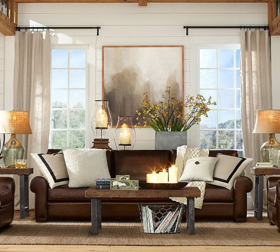 brown leather sofa living room. Iron and glass table to lighten room  love the leather sofa for family Room Decorating Ideas D cor Gallery Pottery Barn