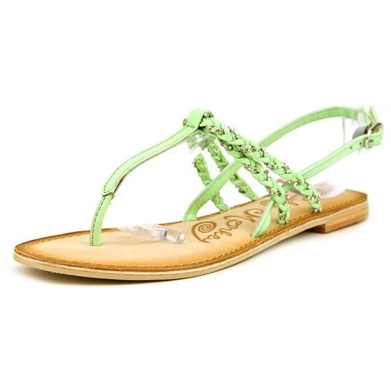 Naughty Monkey Fresh Fry Women Slingback Sandals ($20) ❤ liked on Polyvore featuring shoes, sandals, green, shiny shoes, genuine leather shoes, slingback shoes, naughty monkey shoes and sling back shoes