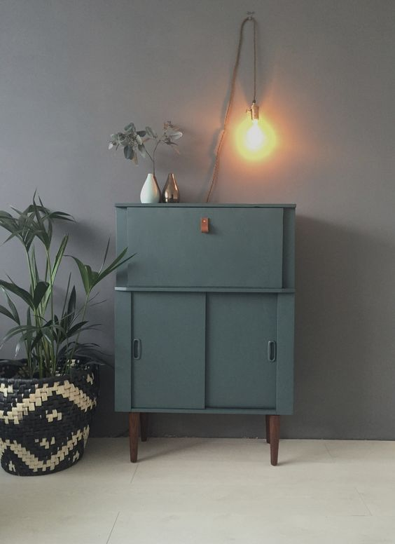 mid century bureau in farrow and ball inchyra blue paint. Black Bedroom Furniture Sets. Home Design Ideas