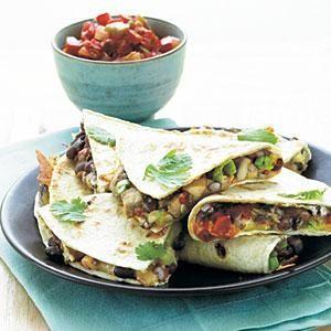 Portobello and Black Bean Quesadillas   MyRecipes.com