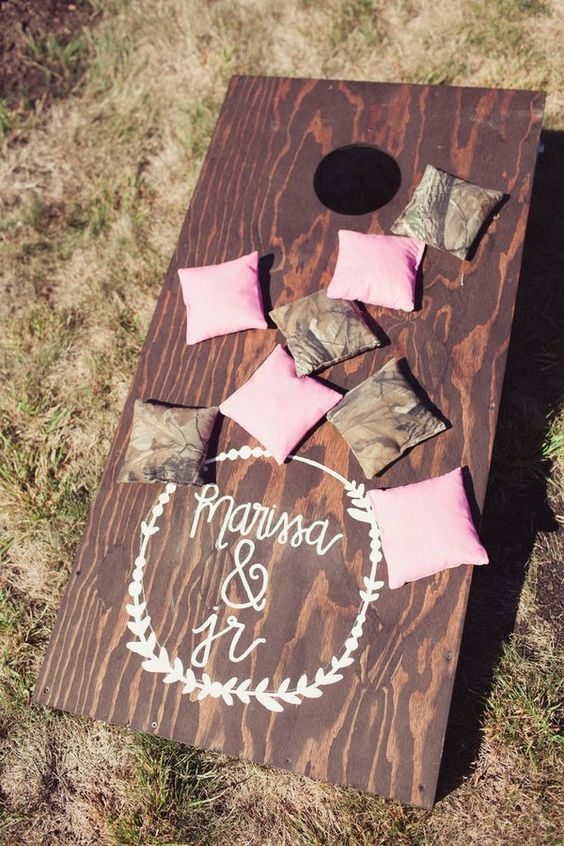 rustic shabby chic wedding game decor / http://www.deerpearlflowers.com/country-rustic-wedding-ideas-and-themes/2/