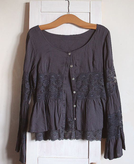 Woman's Soft Top Tank Blouse dark grey, laces