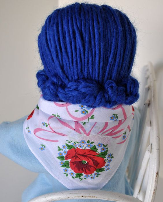 RESERVED for Lynne S. - Doll Scarf, vintage handkerchief, red and blue flowers with pink ribbons, doll clothes
