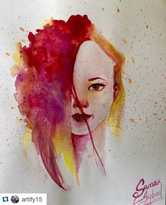 "Love the colors in this by @artify15 Tag #TalentedPeopleInc and follow us for a featured post!  ""Happy""  Thought I would try something colourful and new.  #artwork #artify #sketchbook #artistic_share #girl #colourfulart #watercolour #talentedpeopleinc #sketch_daily #phanasu #worldofart #worldofpencils #reeveswatercolor #portrait #instaart  #blvart by talentedpeopleinc"