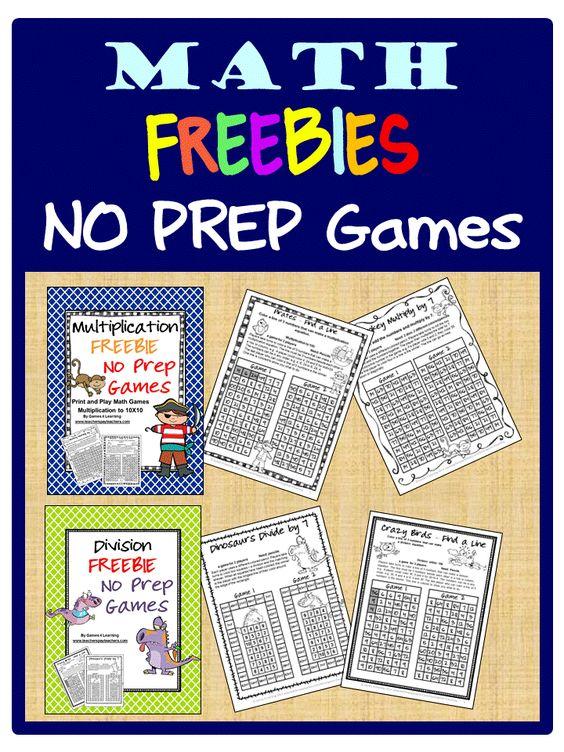 FREEBIES - Fun Games 4 Learning: More NO PREP Math Games - Print ...