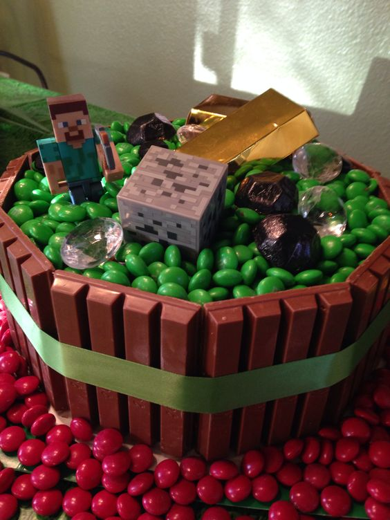 Minecraft cake... The Kit Kat and M&M cake as seen on Pinterest for awhile now.  Decorated top with minecraft figures, gold boxes (from Amazon), Christmas coal, Diamonds from party supply store (wedding section) and red m&ms around bottom of cake for Lava.