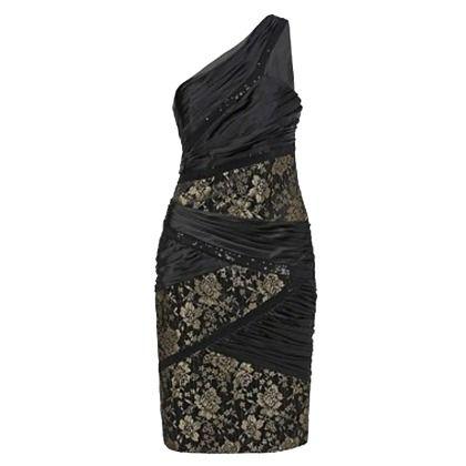 Asymmetrisches Kleid von Apart. Details wie die Spitze mit Gold, Satin, Netz und Pailletten sorgen für einen ganz besonderen Look. Kombiniert mit schwarzen Pumps ein Highlight am Abend!