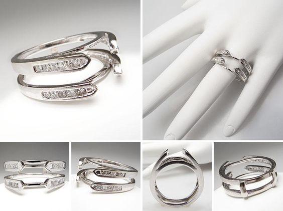 wedding bands ring guard and princess cut diamonds on