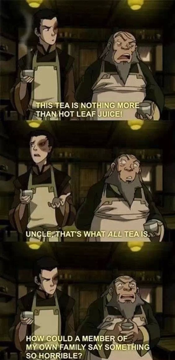 Avatar: the Last Airbender (haha, Iroh makes the best faces!)