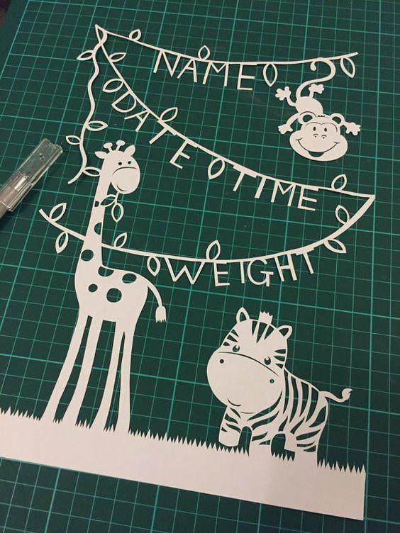 Knip uw eigen Jungle dieren nieuwe Baby Papercut / Papierknipkunst sjabloon - lege versie