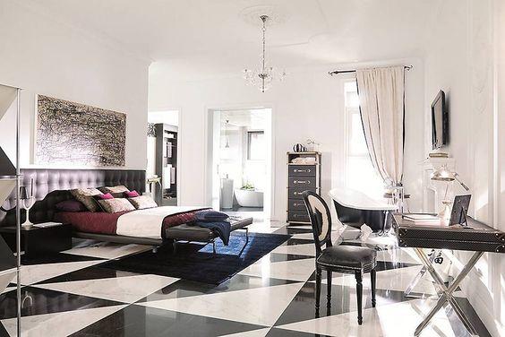 No pillow talk strictly business. Floor Tiles: Marble Carrara and Negro Marquina  #interiordesign  #interiorStyle #architecture #bedroomdesign #bedroomDecor #decor #design #tiles #tileaddiction #luxury #luxuryhome #boss #bosslife #luxurydesign #ninterior #interior125 #GlendaleTile #amirianHome by amirianhome