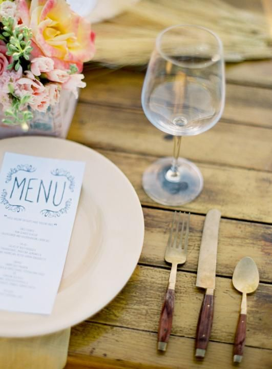 This cutlery! So perfect for a country wedding. via  Rustic Australian Wedding / Wedding Style Inspiration / LANE (PS: Follow us on instagram: the_lane) Love the cutlery. Perfect match for the Delphine Manivet Long Guipire Dress. A splash of color mixed with vintage styling. Like this alot. #TheLANEweddings #DelphineManivet