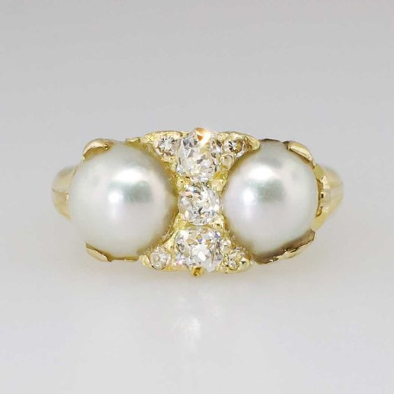 Transcendent Art Nouveau Double Pearl & Old Mine Cut Diamond Ring 18k | Antique & Estate Jewelry | Jewelry Finds