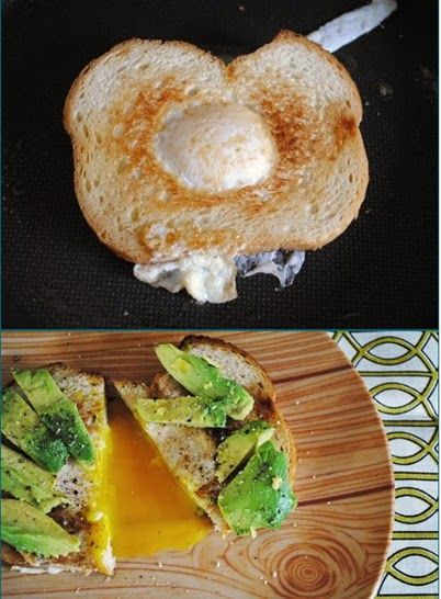 This looks AMAZING... Eggs in a Basket with avocado http://ohjoy.blogs.com/my_weblog/2010/10/make-it-egg-in-a-basket.html