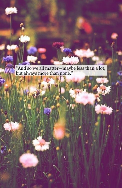 """""""And so we all matter--maybe less than a lot, but always more than none."""" -John Green"""