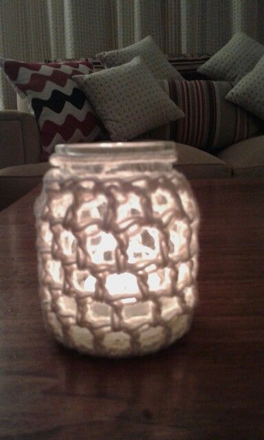Frasquito porta vela con  crochet