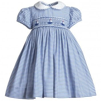 Annafie Baby Girls Blue Stripe Smocked Dress at Childrensalon.com