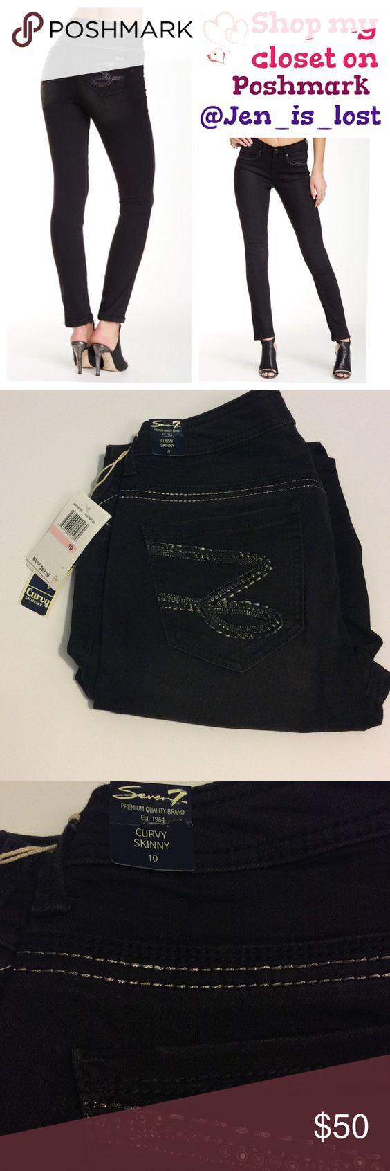 "Seven7 Black Curvy Skinny Jeans 10 Black curvy skinny jeans size 10. New with tags.  Waist measures 16"" (has about 1/2"" stretch)laying flat,  inseam is 31"".  🚫 TRADES 🚫 ✅ Reasonable Offers Are Considered.✅ Use the blue offer button. Seven7 Jeans Skinny"