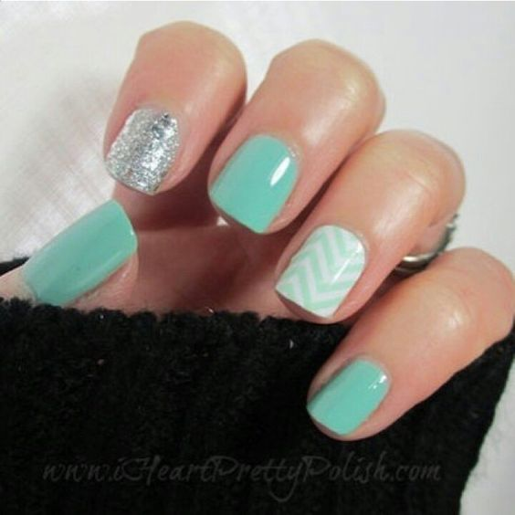 turquoise white and sliver glitter chevron nail art