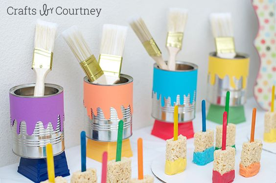Easy DIY Kids Art Themed Birthday Party featuring these adorable rice krispie treat paint brushes