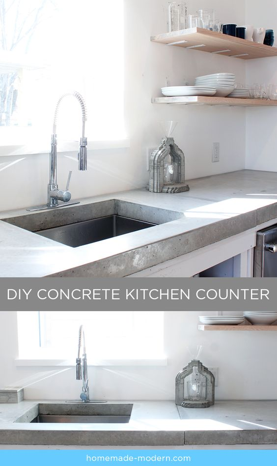 This Concrete Kitchen Countertop Was Built For Less Than