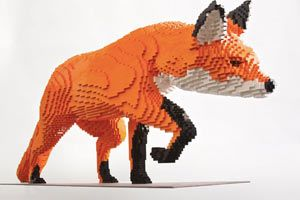 Have LEGOs, will travel. Sean Kenney's traveling exhibition, Nature Connects, is currently on display at Reiman Gardens in Ames, Iowa, where 27 life-sized LEGO animal sculptures were crafted by Kenney and his team. It only takes from 60 hours to 6 weeks to create these steel-framed supported LEGO animals.