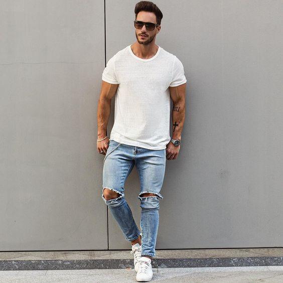 #tshirt #jeans #adidas #white #blue #streetstyle #style #menstyle #manstyle #menswear #fashion #mensfashion