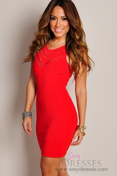 Sexy Lustrous Deep Red Sleeveless Bodycon Dress - Sexy- Red and Night