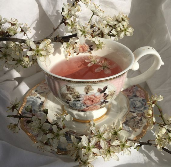 porcelain cup and white flowers