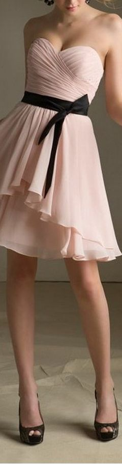 Strapless Sweetheart Neckline With A Line Skirt And Sash - Custom Tailored Chiffon Bridesmaid Dress - Knee Length Skirt
