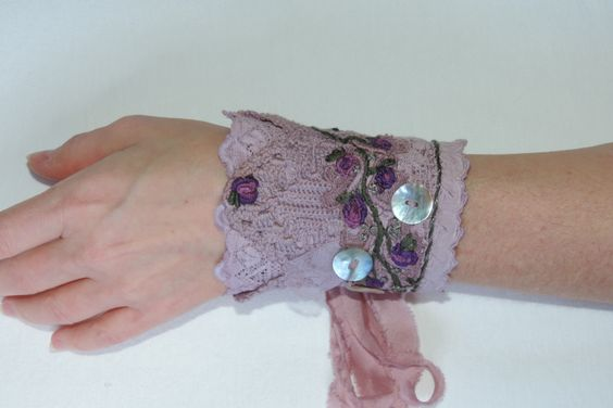 Fabric Wrist Cuff 'Lavender Rose'  Embroidered Romantic  Boho in muted mauve by LifeIsBoho on Etsy https://www.etsy.com/listing/269557421/fabric-wrist-cuff-lavender-rose