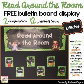 "FREE - Do you let students ""Read Around the Room"" during daily independent reading time? This bulletin board display idea was passed on to me from a colleague and it's a lifesaver during Reading Workshop so I want to share it with you too! Simply print, l"